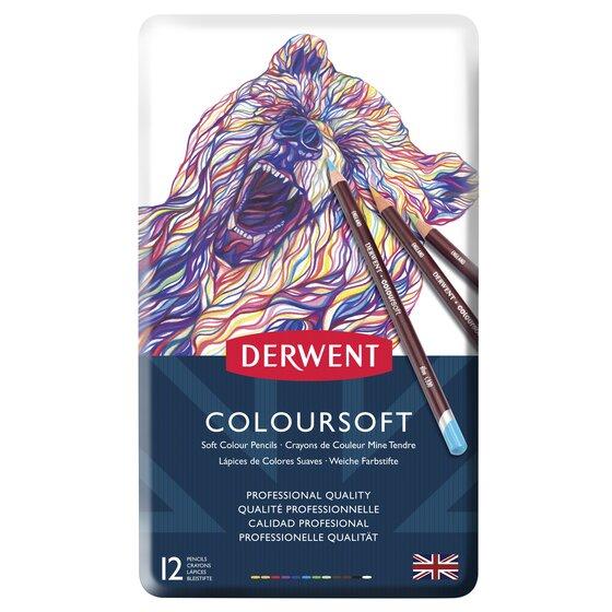 Umělecké pastelky DERWENT Coloursoft, sada 12 ks