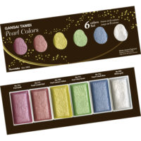 Akvarelové barvy Kuretake Gansai Tambi Pearl Colors, sada 6 ks